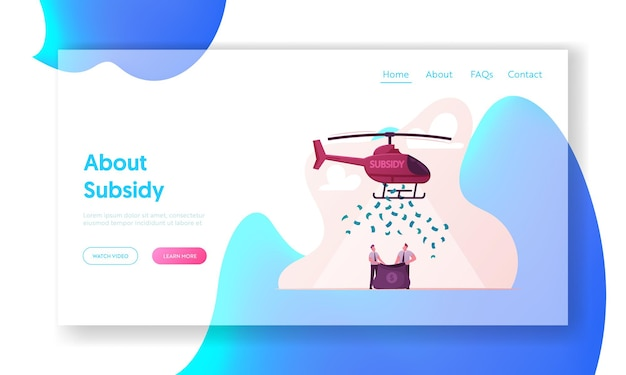 Subsidy, governmental help to small business landing page template.