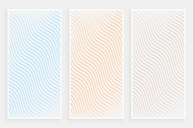 微妙なミニマリストの曲線の流れるようなラインパターンバナーセット