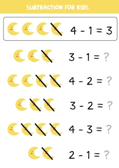 귀여운 초승달 모양의 아이들을위한 빼기 게임. 아이들을위한 수학 게임.