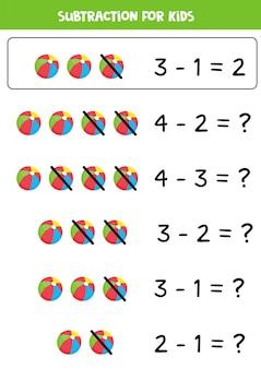 Вычитание с мультяшным игрушечным мячом. развивающая математическая игра для детей. учимся считать и вычитать. цифры 1-5.