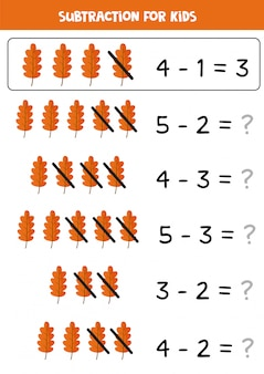 Subtraction with cute autumn leaf. math game for kids.
