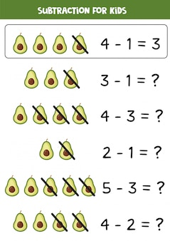 Subtraction with cute cartoon avocado. math game.