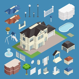 Suburb house isometric set on blue background