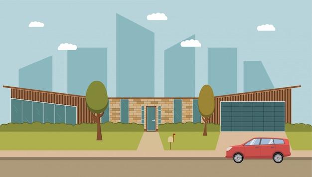 Загородный американский дом. современный частный загородный дом с гаражом и припаркованным автомобилем внедорожником.