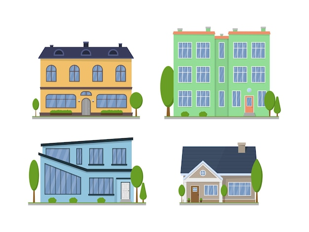 Экстерьер пригородных американских домов, изолированные на белом фоне Premium векторы