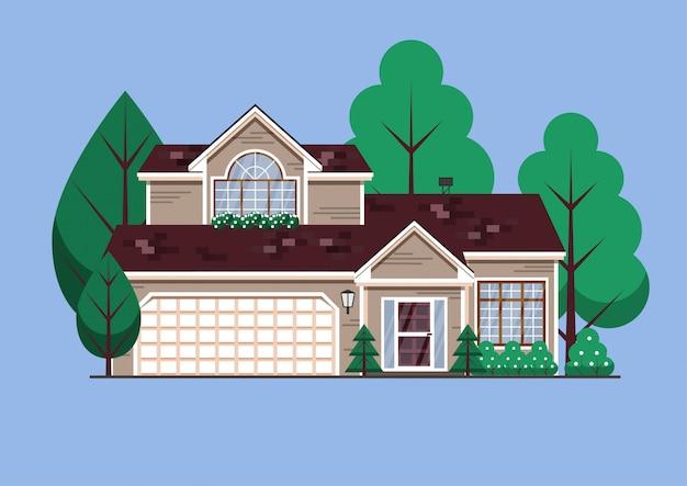 Suburban american single family house