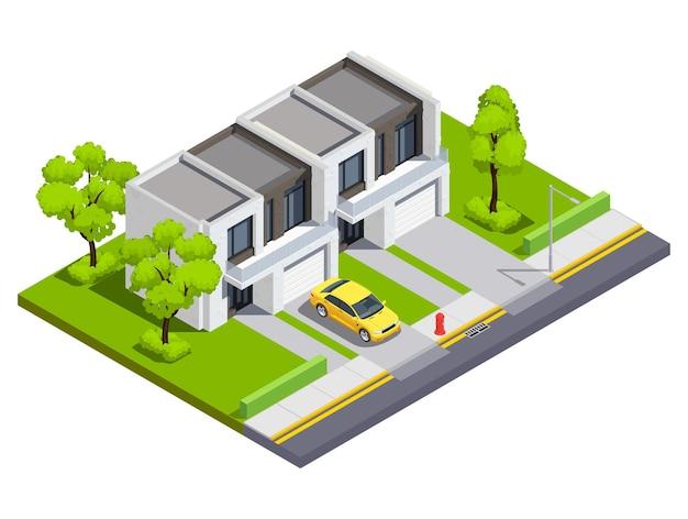 郊外の建物の等角図で、2つの家族のためのプライベートタウンハウスがあり、家の領土に孤立した入力と車があります