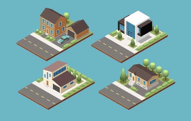 Suburban buildings set