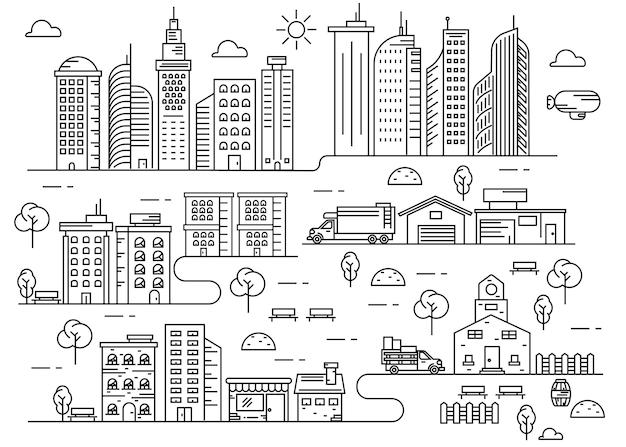 郊外都市活動細線画