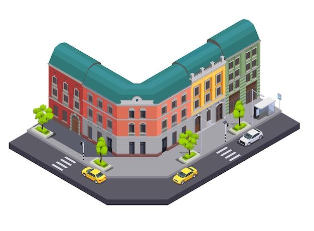 Пригородные городские здания изометрическая композиция Premium векторы
