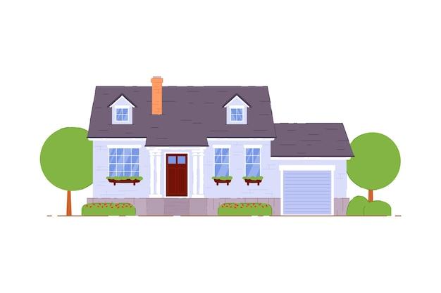 郊外のコテージ。白い背景の上のガレージアイコンと居心地の良い郊外のコテージ家族の家。マンション建物住宅物件イラスト