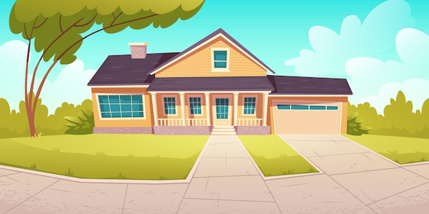 Suburban cottage, residential house with garage