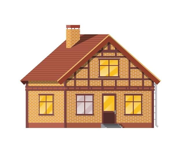 교외 가족 집. 시골 벽돌 집 아이콘입니다. 아이소 메트릭 건물. 부동산 및 임대.