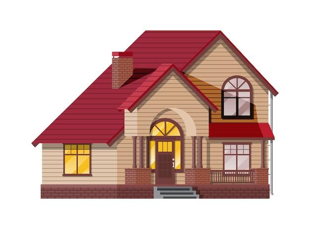 교외 가족 집. 시골 목조 주택 아이콘입니다. 아이소 메트릭 건물. 부동산 및 임대.