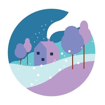 Suburban home in heavy snowfall.