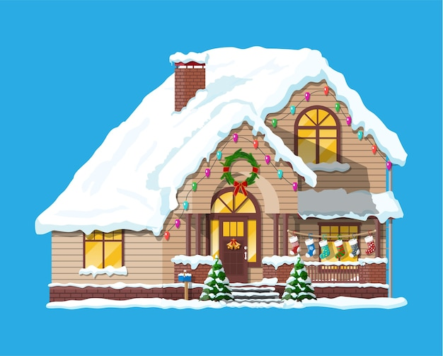 Suburban house covered snow. building in holiday ornament. christmas tree spruce, wreath. happy new year decoration. merry christmas holiday. new year and xmas celebration.  illustration