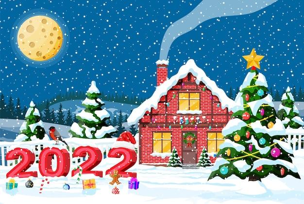 Дачный дом засыпанный снегом. здание в праздничном орнаменте. рождественский пейзаж елка, текст 2022 года. новогоднее украшение. с рождеством христовым праздник рождества. мультфильм плоский векторные иллюстрации