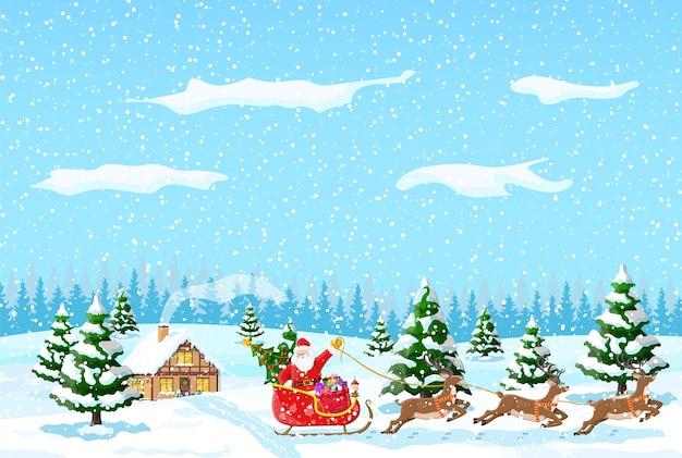 Загородный дом засыпан снегом. здание в праздничном орнаменте. рождественский пейзаж елка, лес, олени санях санта. новогоднее украшение. с рождеством христовым праздник рождества.