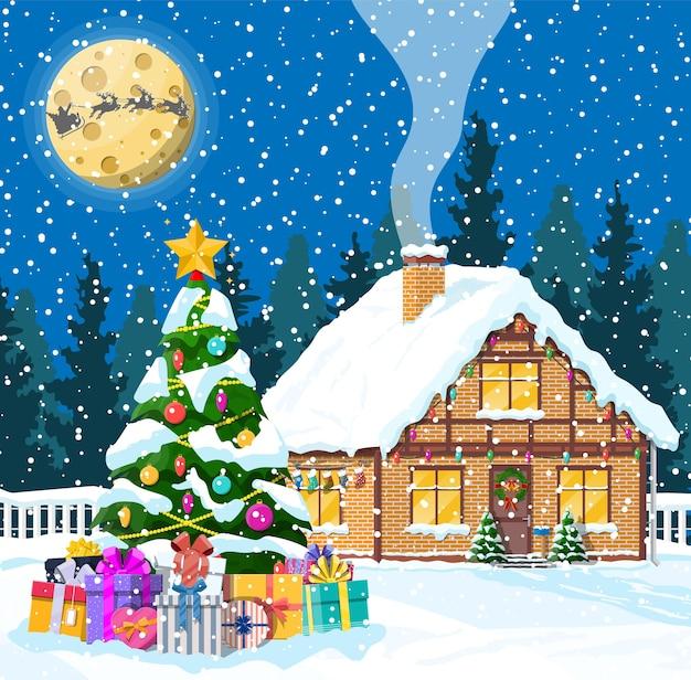Загородный дом засыпан снегом. здание в праздничном орнаменте. рождественский пейзаж дерево, олени санях санта. новогоднее украшение. с рождеством христовым праздник рождества. иллюстрация