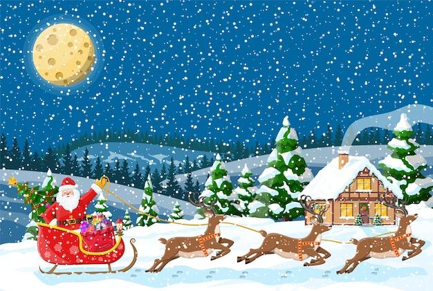 Загородный дом засыпан снегом. здание в праздничном орнаменте. рождественский пейзаж дерево, олени санях санта. новогоднее украшение. с рождеством христовым праздник рождества.