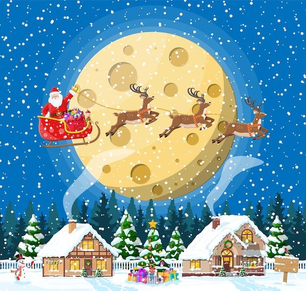 교외 집 덮여 눈. 휴일 장식에서 건물. 크리스마스 풍경 트리, 눈사람, 산타 썰매 순록. 새해 장식. 메리 크리스마스 휴일 크리스마스 축하. 삽화