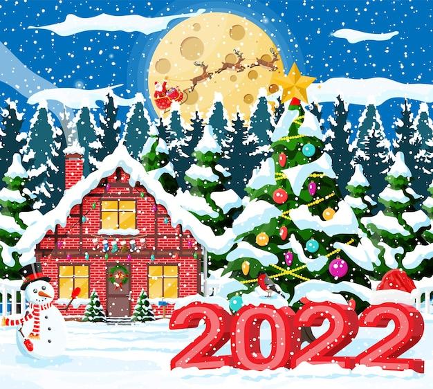 Дачный дом засыпанный снегом. здание в праздничном орнаменте. рождественский пейзаж ель, снеговик. с новым годом украшение. с рождеством христовым. празднование нового года. векторные иллюстрации
