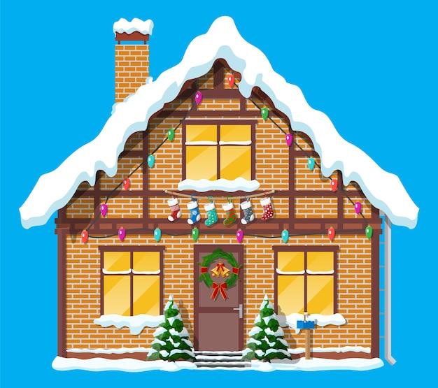 Suburban house covered snow illustration
