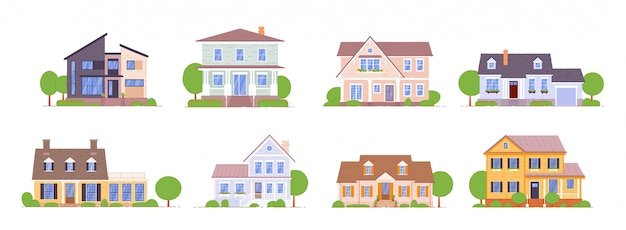 Suburban house set  on white background