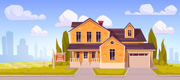 Загородный дом с вывеской на продажу