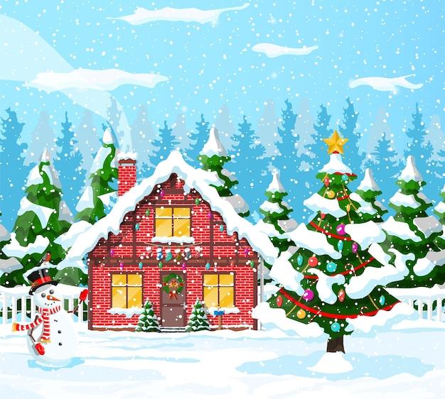 Загородные дома покрыты снегом иллюстрации