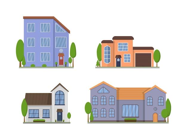 Экстерьер загородных домов, изолированные на белом фоне Premium векторы