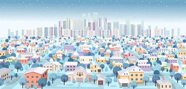 Пригородный пейзаж с горами зимой перспективный вид с дорогами и домами