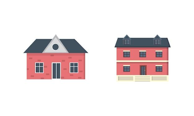 郊外の民家。家の外観。都市の建物のアイコンを設定します。