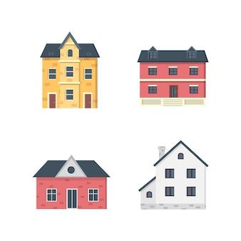 郊外の民家家の外観都市の建物のアイコンセット