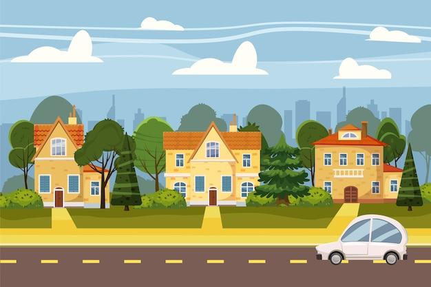 큰 도시, 나무, 도로, 하늘과 구름의 교외 마을. 부동산, 판매 및 임대 주택, 맨션