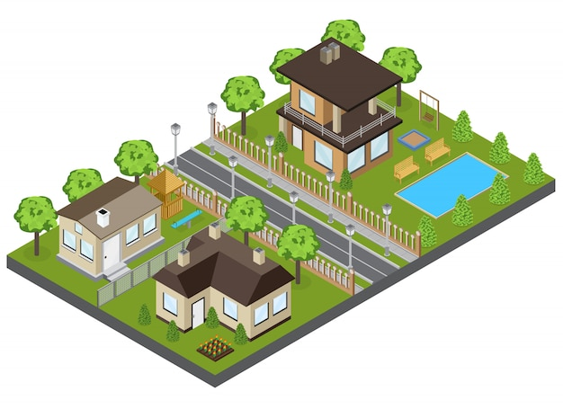 Suburbia area buildings with town houses and cottages isometric