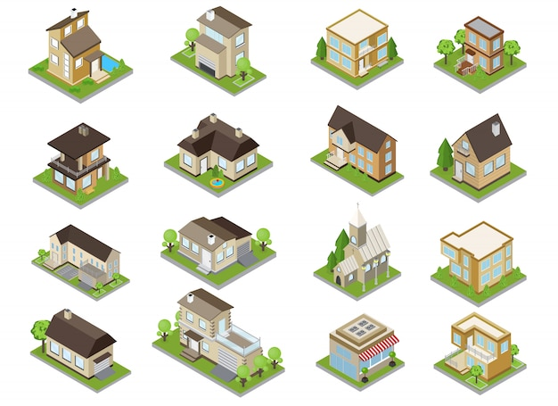 Suburbia buildings icons set with townhouses and church isometric isolated