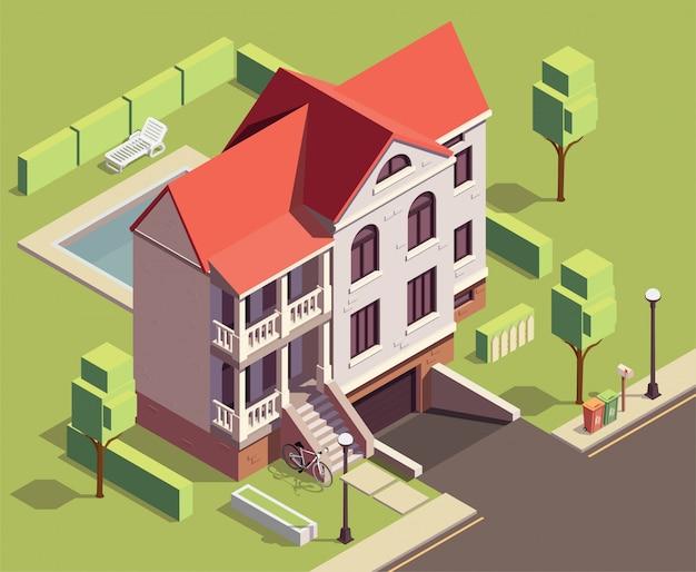 Пригородные постройки изометрической композиции с уличным пейзажем и двухэтажным жилым домом с двором и деревьями