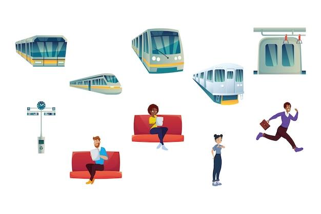 地下鉄と乗客のクリップアート