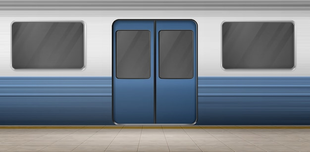 地下鉄のドア、タイル張りの床のある空の駅のプラットホームの地下鉄の電車、閉じた出入り口と窓のある地下の馬車の外装。メトロポリタン鉄道、鉄道。リアルな3 dベクトルイラスト