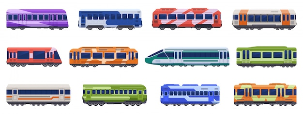Subway passenger trains. high speed trains, metro ground, underground transport. passenger transportation vehicles  illustration icons set. subway public van, tram metro, urban electric railway