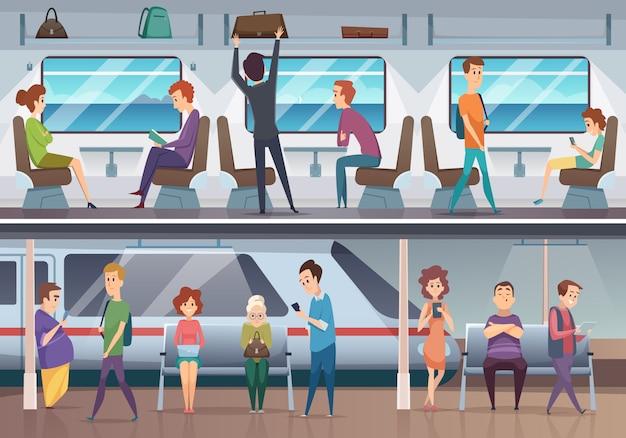 地下鉄。都市の地下鉄の地下プラットフォームのバックグラウンドで電車を待っている人々