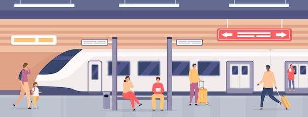 Subway platform with people. passengers on metro station waiting for train. city underground public railway transport, flat vector concept. illustration people commuter transportation by railway