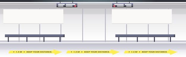 Subway platform with signs for social distancing coronavirus epidemic protection measures concept horizontal