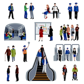 Subway rapid transit trains system flat icons set with passengers on platform