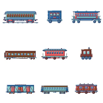 Subway train metro icons set