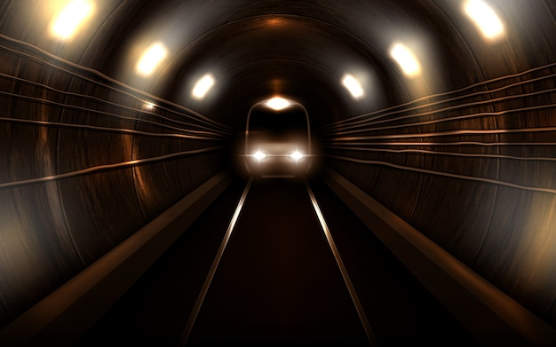 Subway train in metro tunnel front view locomotive