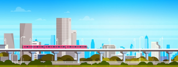 Subway train over modern city panorama with high skyscrapers, cityscape illustration
