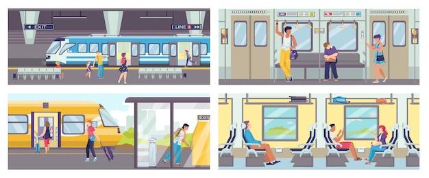 地下鉄の列車の乗客が座っているおよび立っている乗客のイラストの群衆の中にある地下鉄の客車内のシーンのセット。エスカレーター付きの地下鉄と地下鉄のあるメトロ。