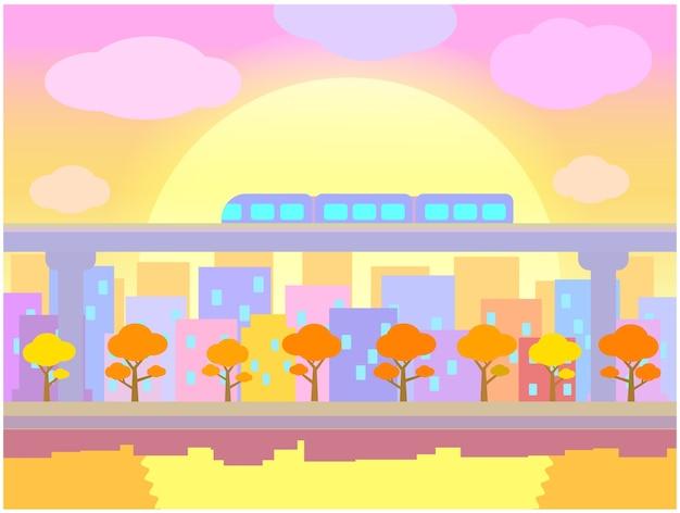Subway train over sunset